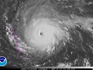An aerial view of Hurricane Irma from NOAA. Crown Roofing and Waterproofing offers storm damage installation, storm damage maintenance, and storm damage restoration.