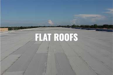 """An image of a commercial flat roof repair in Pompano Beach, FL with the description, """"Flat Roofs"""""""