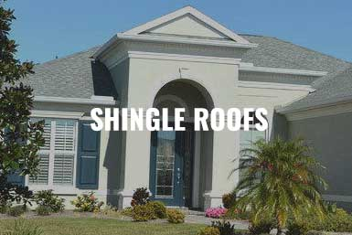 """A residential home in Sarasota, FL with a grey shingled roof with the caption, """"Shingle Roofs"""""""